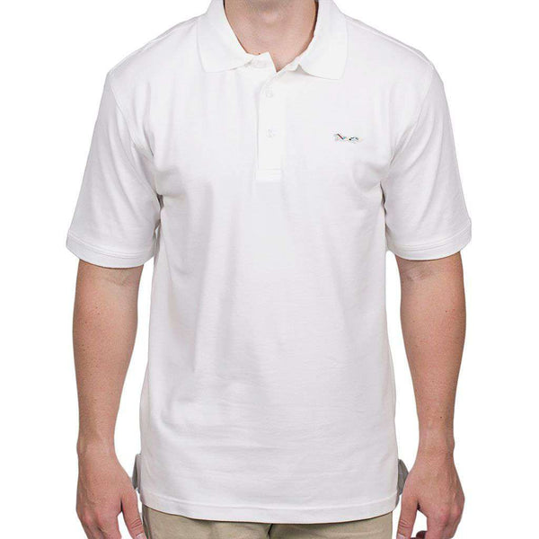 Men's Polo Shirts - Longshanks Embroidered Patch Polo In White By Country Club Prep