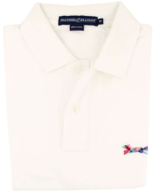 Men's Polo Shirts - Longshanks Needlepoint Polo Shirt In White By Smathers & Branson