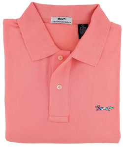 Men's Polo Shirts - Longshanks Polo Shirt In Coral By Country Club Prep - FINAL SALE
