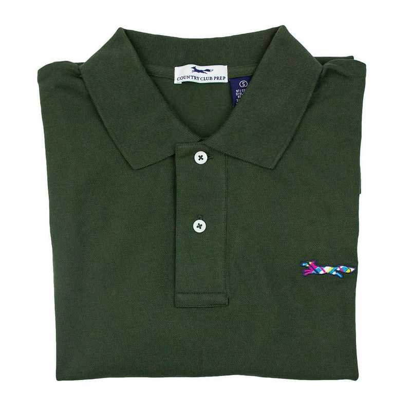 Men's Polo Shirts - Longshanks Polo Shirt In Hunter Green By Country Club Prep - FINAL SALE