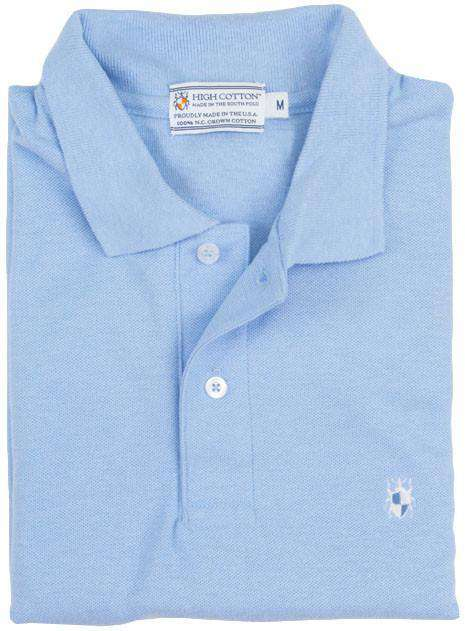 Men's Polo Shirts - Made In The South Polo In Carolina Blue By High Cotton