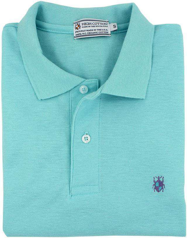Men's Polo Shirts - Made In The South Polo In Turquoise By High Cotton - FINAL SALE