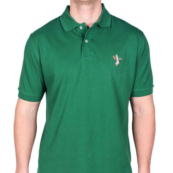 Men's Polo Shirts - Mallard Needlepoint Polo Shirt In Hunter Green By Smathers & Branson