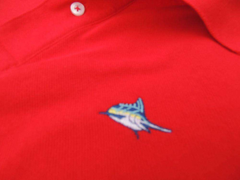 Men's Polo Shirts - Marlin Polo In Red Drum By Atlantic Drift - FINAL SALE