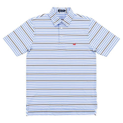 Newberry Performance Polo in Light Blue and Gray by Southern Marsh