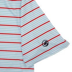Performance Polo in Pool/Tomato Stripe by Southern Proper - FINAL SALE