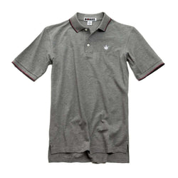 Men's Polo Shirts - Pique Tipped Polo In Heather Grey With Red And Navy By Boast - FINAL SALE