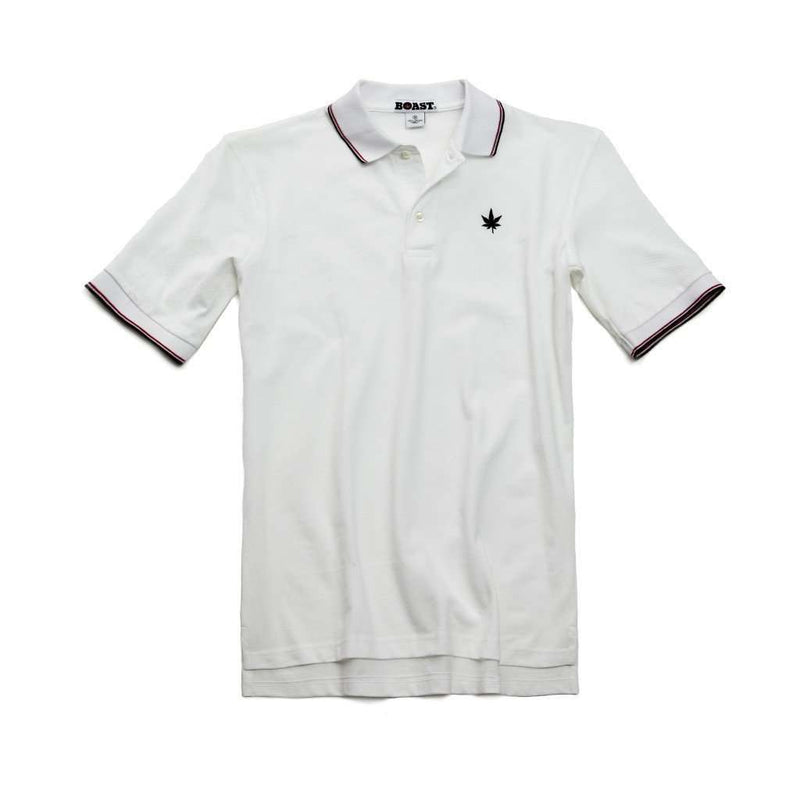 Men's Polo Shirts - Pique Tipped Polo In White With Red And Navy By Boast - FINAL SALE