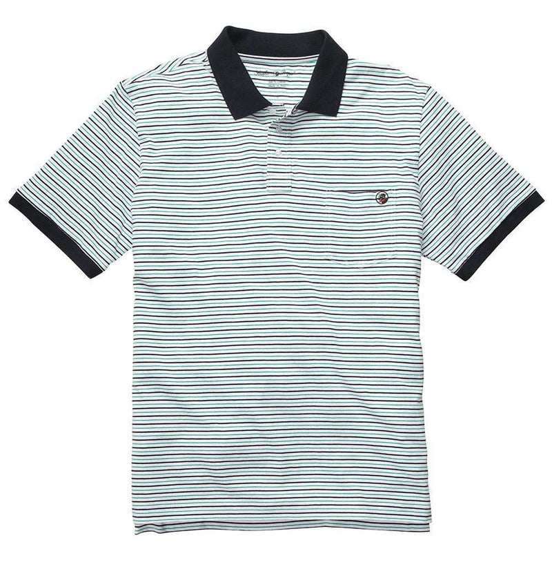 Men's Polo Shirts - Pocket Polo In Green & Navy Stripe By Southern Proper