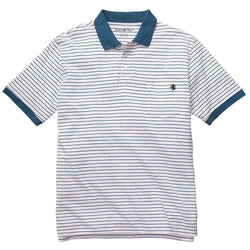 Men's Polo Shirts - Pocket Polo In Pink & Blue Stripe By Southern Proper