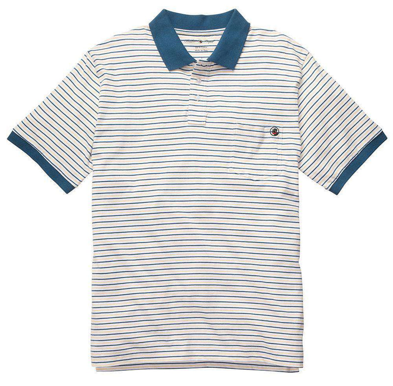 Men's Polo Shirts - Pocket Polo In Yellow & Blue Stripe By Southern Proper