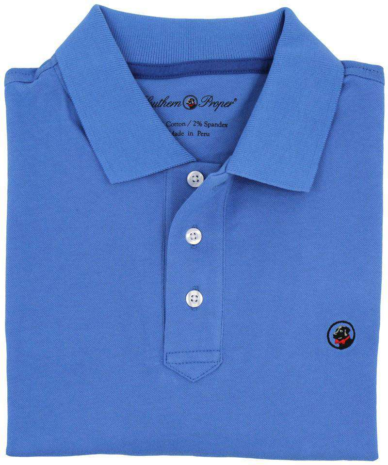 Men's Polo Shirts - Proper Polo In Blue By Southern Proper - FINAL SALE
