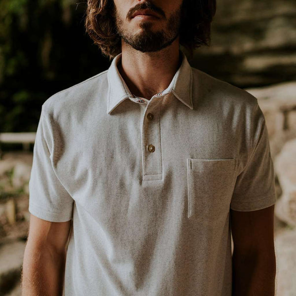 Puremeso Heathered Pocket Polo in Stone by The Normal Brand - FINAL SALE