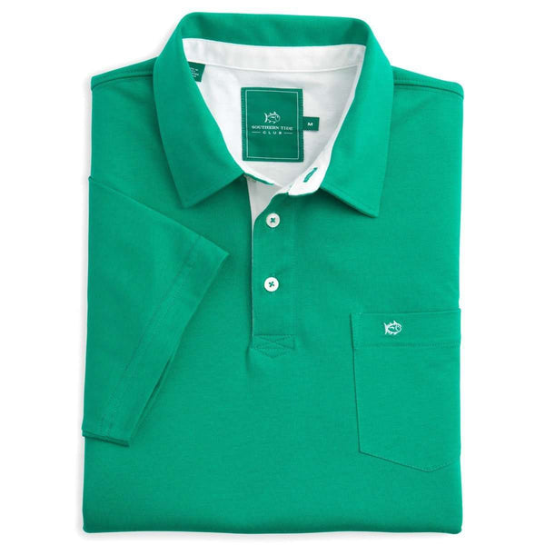 Men's Polo Shirts - River Oaks Solid Club Polo In Augusta Green By Southern Tide