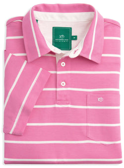 Men's Polo Shirts - River Oaks Striped Club Polo In Bright Pink By Southern Tide