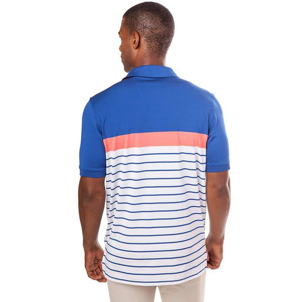 Men's Polo Shirts - Ryder Stripe Performance Polo In Sunset Coral By Southern Tide
