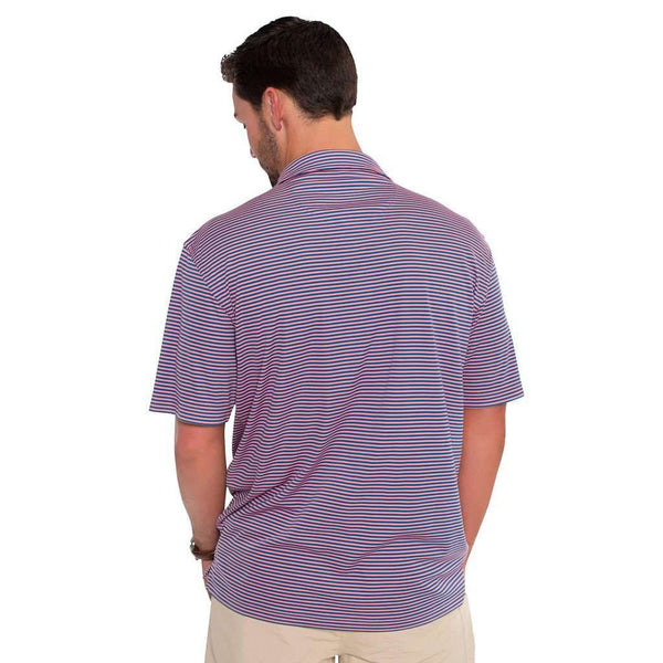 Shearwater Stripe Performance Polo in Blue Strawberry by The Southern Shirt Co.