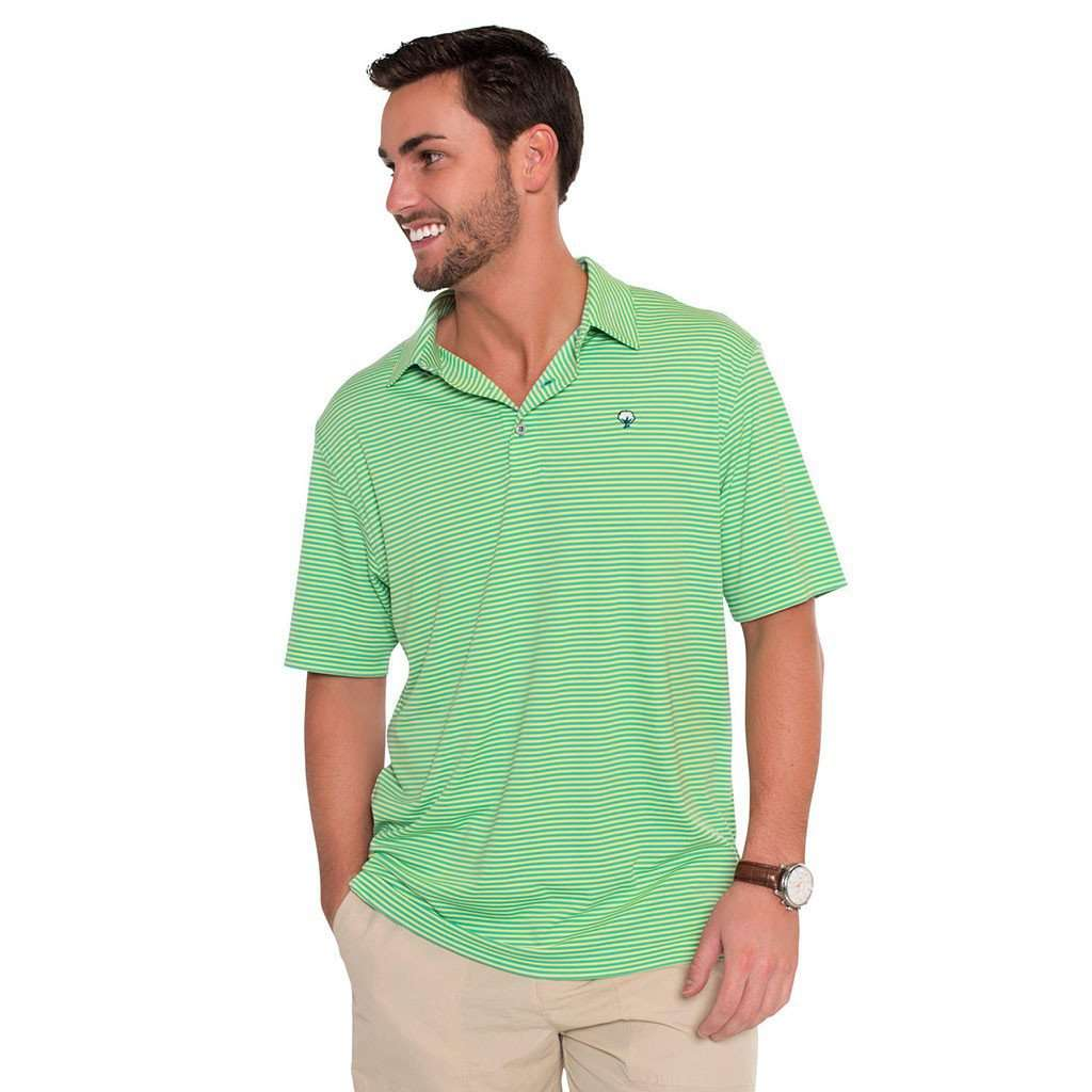 The Southern Shirt Co Shearwater Stripe Performance Polo In Sunny