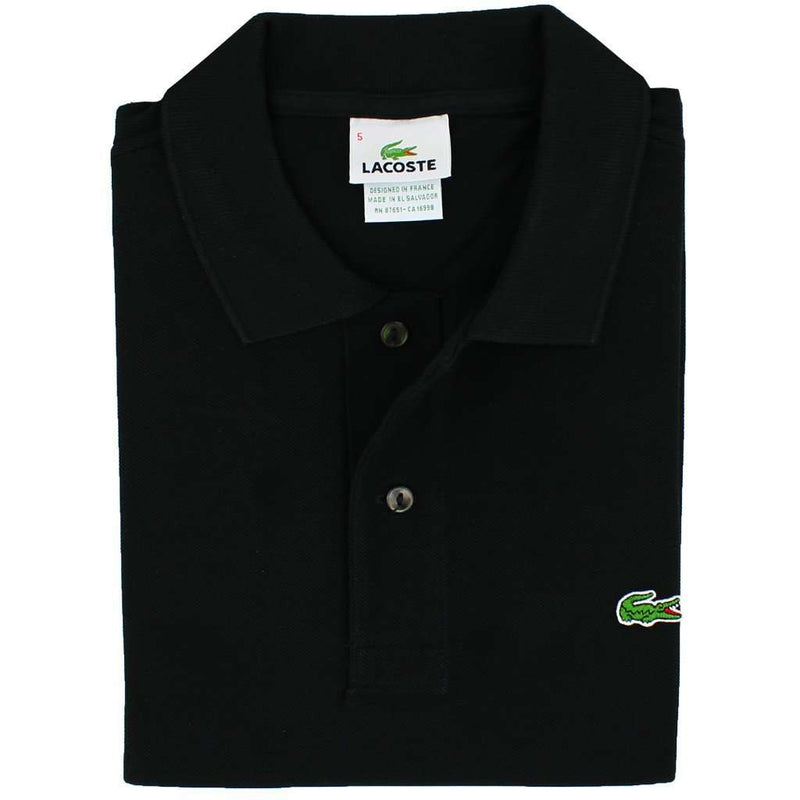 Men's Polo Shirts - Short Sleeve Classic Pique Polo In Black By Lacoste - FINAL SALE