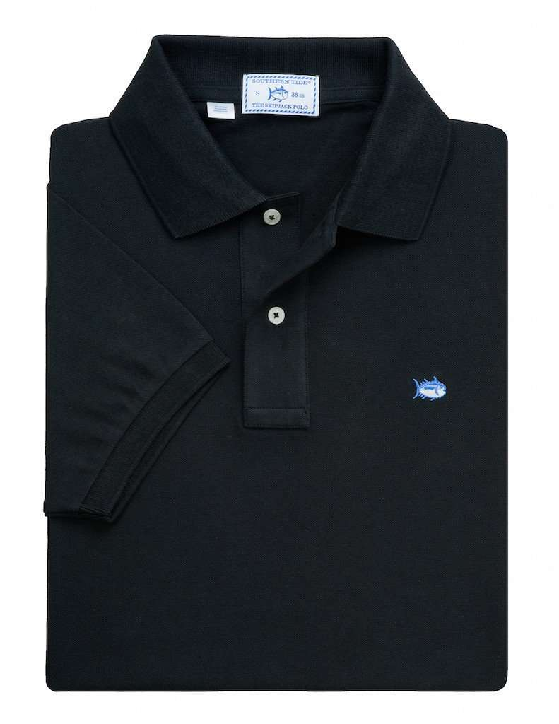 Men's Polo Shirts - Short Sleeve Classic Skipjack Polo In Black By Southern Tide