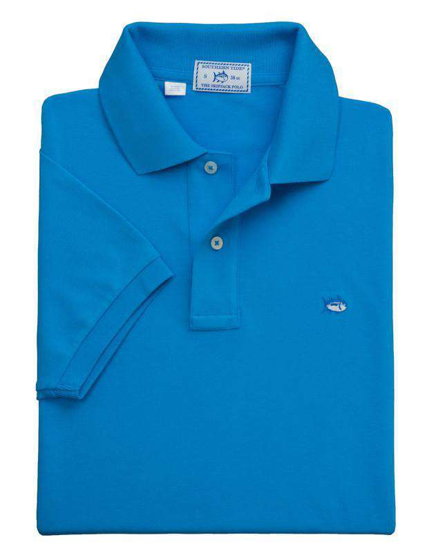 Men's Polo Shirts - Short Sleeve Classic Skipjack Polo In Blue Fin By Southern Tide