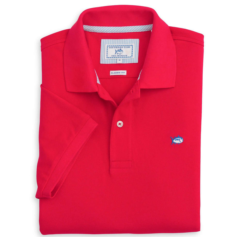 Men's Polo Shirts - Short Sleeve Skipjack Polo In Channel Marker Red By Southern Tide