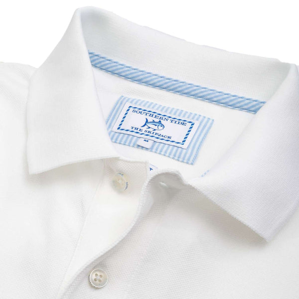 Men's Polo Shirts - Short Sleeve Skipjack Polo In Classic White By Southern Tide