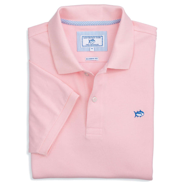 Men's Polo Shirts - Short Sleeve Skipjack Polo In Light Pink By Southern Tide