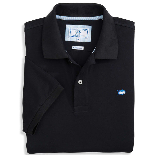 Men's Polo Shirts - Short Sleeve Skipjack Polo In Midnight Black By Southern Tide