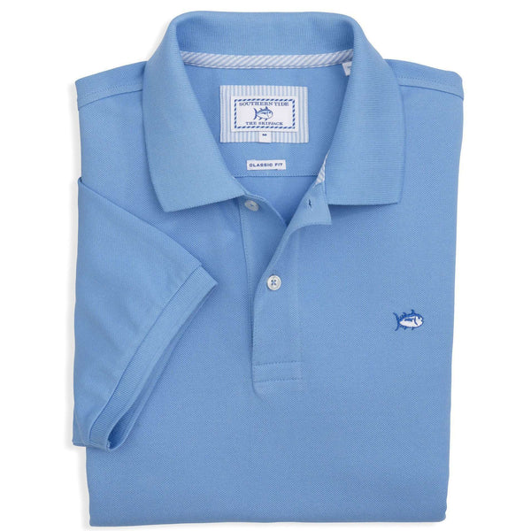 Men's Polo Shirts - Short Sleeve Skipjack Polo In Ocean Channel By Southern Tide