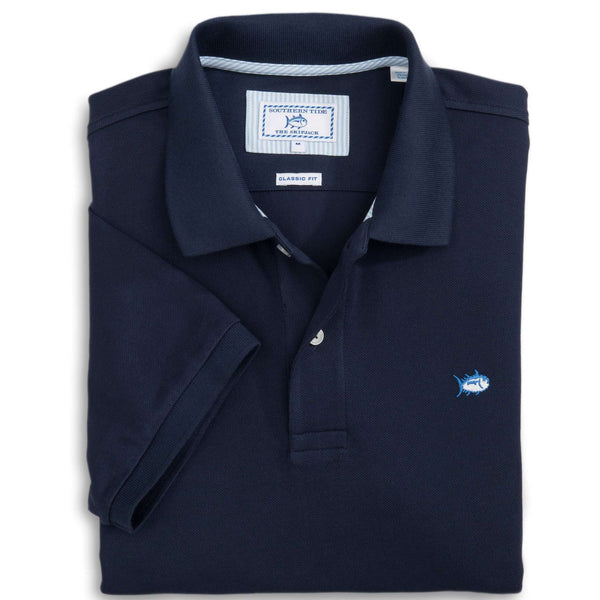 Men's Polo Shirts - Short Sleeve Skipjack Polo In True Navy By Southern Tide
