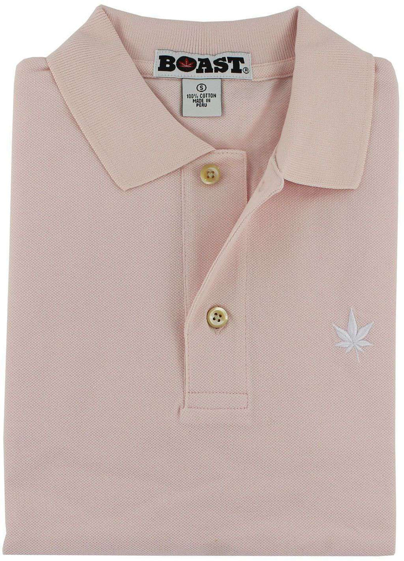 Men's Polo Shirts - Solid Classic Polo In Chalk Pink By Boast - FINAL SALE