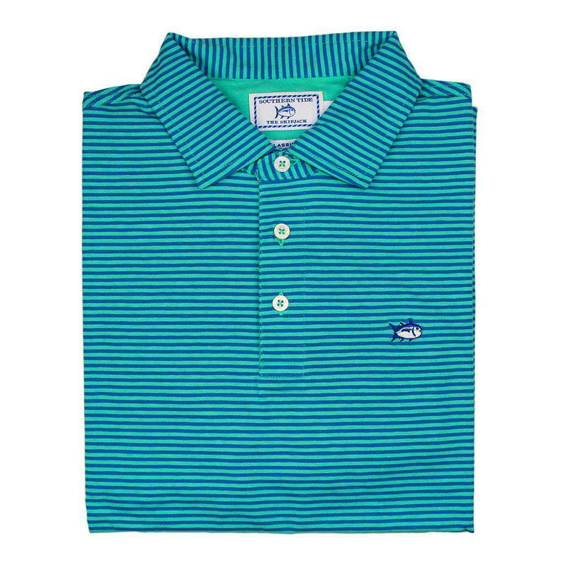 Men's Polo Shirts - Striped Channel Marker Polo In Seaglass By Southern Tide