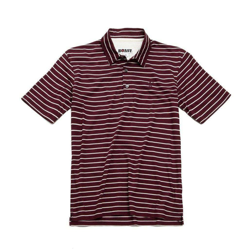 Men's Polo Shirts - Striped Jersey Polo In Tawny Port With White Stripes By Boast - FINAL SALE
