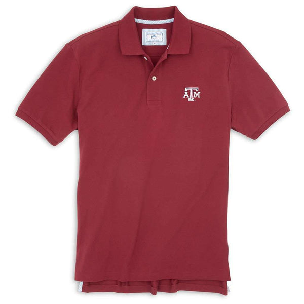 Men's Polo Shirts - Texas A&M Gameday Skipjack Polo In Chianti By Southern Tide