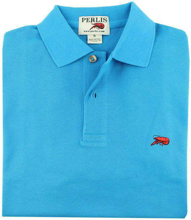Men's Polo Shirts - The Crawfish Polo In Creole Blue By Perlis
