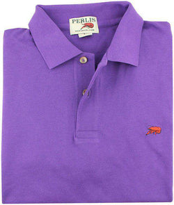 Men's Polo Shirts - The Crawfish Polo In Purple By Perlis - FINAL SALE