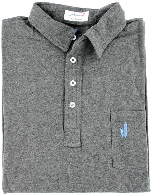 The Long Sleeve 4-Button Polo in Heather Charcoal Grey by Johnnie-O