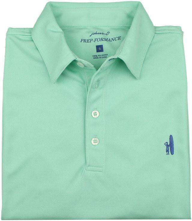 Men's Polo Shirts - The Moisture Wicking Prep-Performance Polo In Brook Green By Johnnie-O