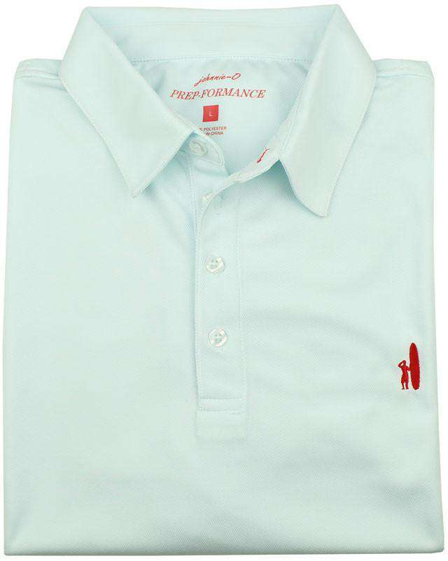 Men's Polo Shirts - The Moisture Wicking Prep-Performance Polo In Ice Blue By Johnnie-O