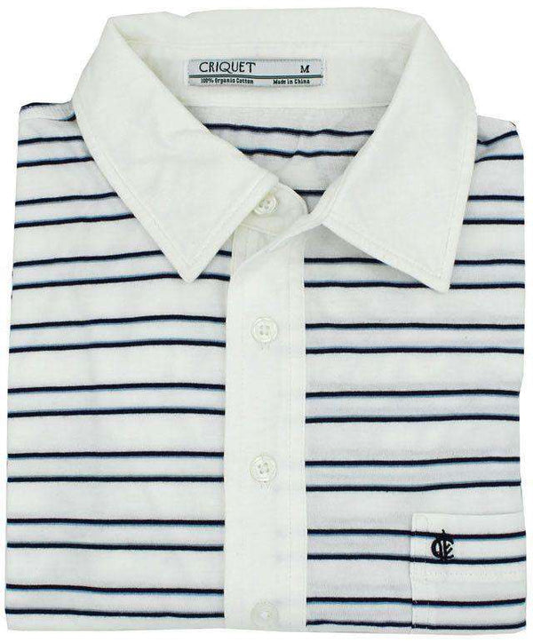 Thin Striped Players Shirt in Bright White by Criquet