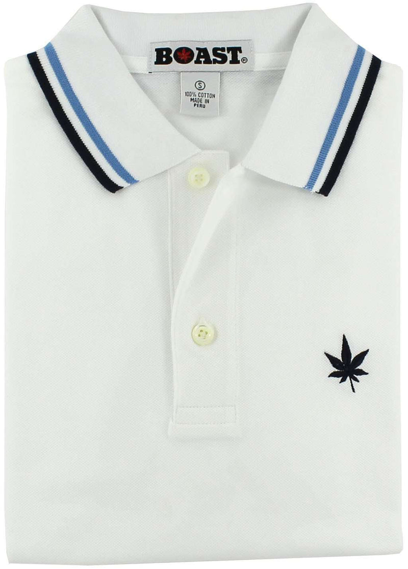 Men's Polo Shirts - Tipped Polo In White With Carolina Blue And Navy By Boast - FINAL SALE