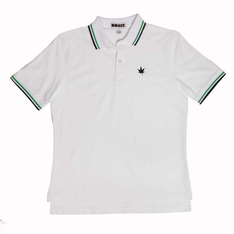 Men's Polo Shirts - Tipped Polo In White With Kelly Green And Navy By Boast - FINAL SALE