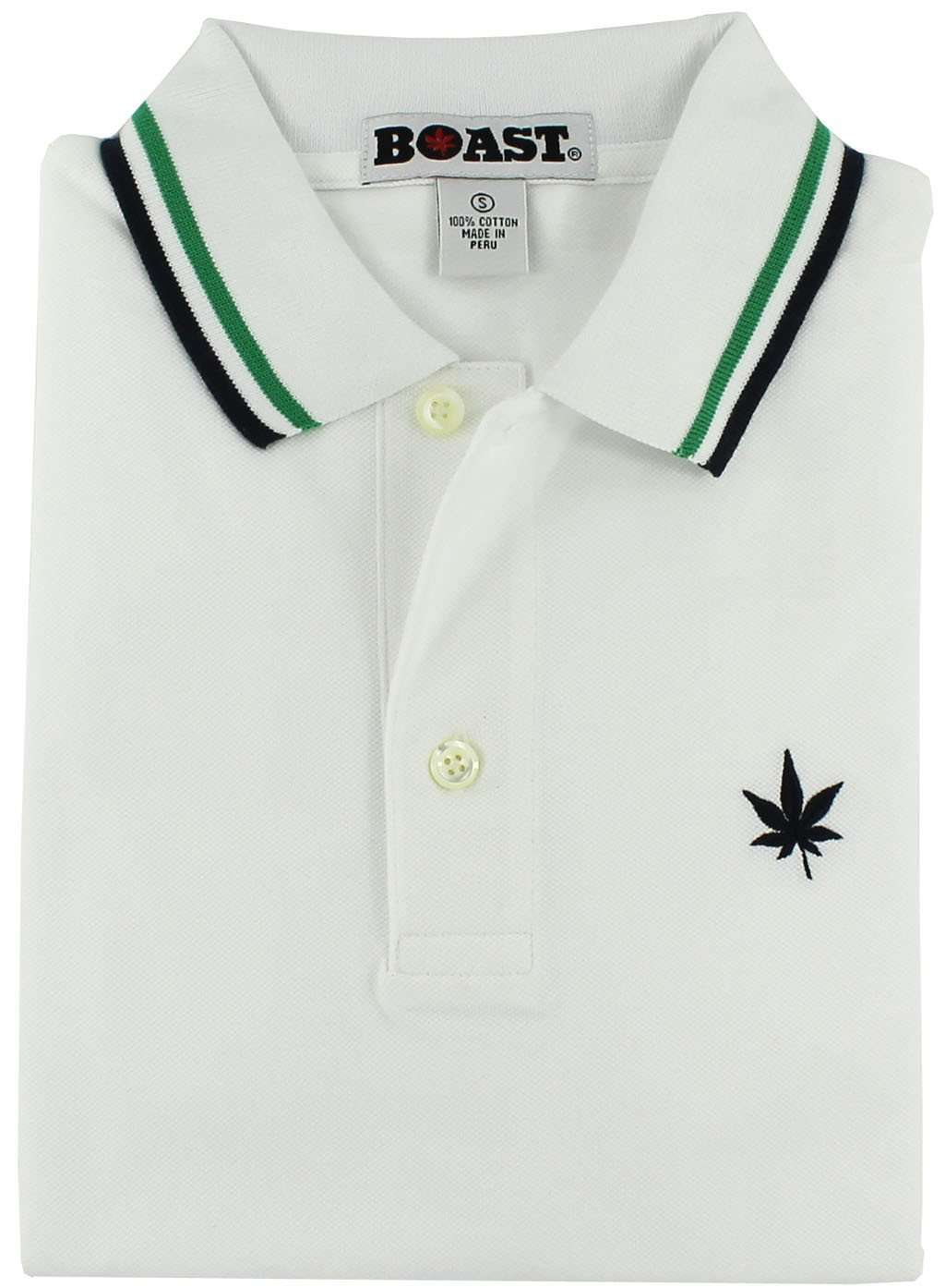 Boast Tipped Polo In White With Kelly Green And Navy Country Club Prep