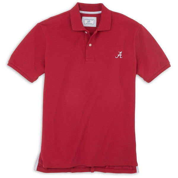 Men's Polo Shirts - University Of Alabama Gameday Skipjack Polo In Crimson By Southern Tide