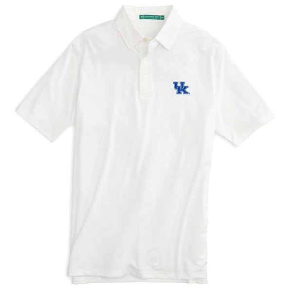 Men's Polo Shirts - University Of Kentucky Gameday Driver Performance Polo In Classic White By Southern Tide - FINAL SALE
