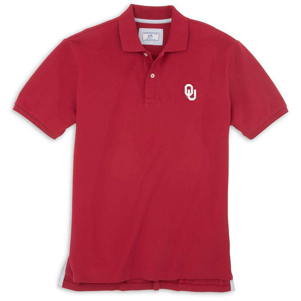 Men's Polo Shirts - University Of Oklahoma Gameday Skipjack Polo In Crimson By Southern Tide