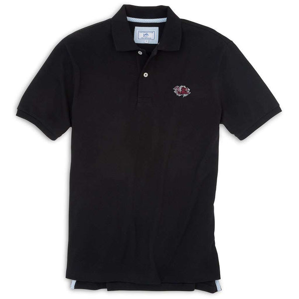 Men's Polo Shirts - University Of South Carolina Gameday Skipjack Polo In Black By Southern Tide
