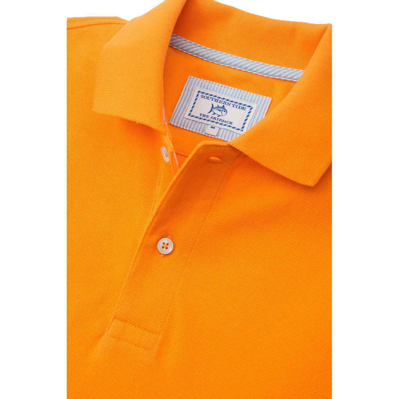 Men's Polo Shirts - University Of Tennessee Gameday Skipjack Polo In Rocky Top Orange By Southern Tide