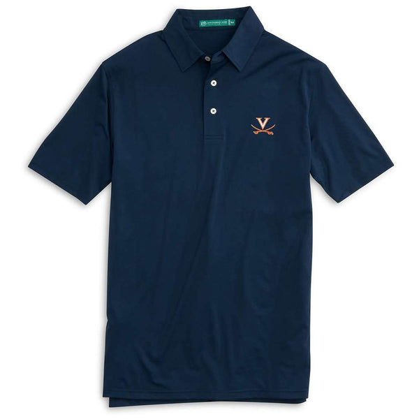Men's Polo Shirts - University Of Virginia Gameday Driver Performance Polo In Navy By Southern Tide - FINAL SALE